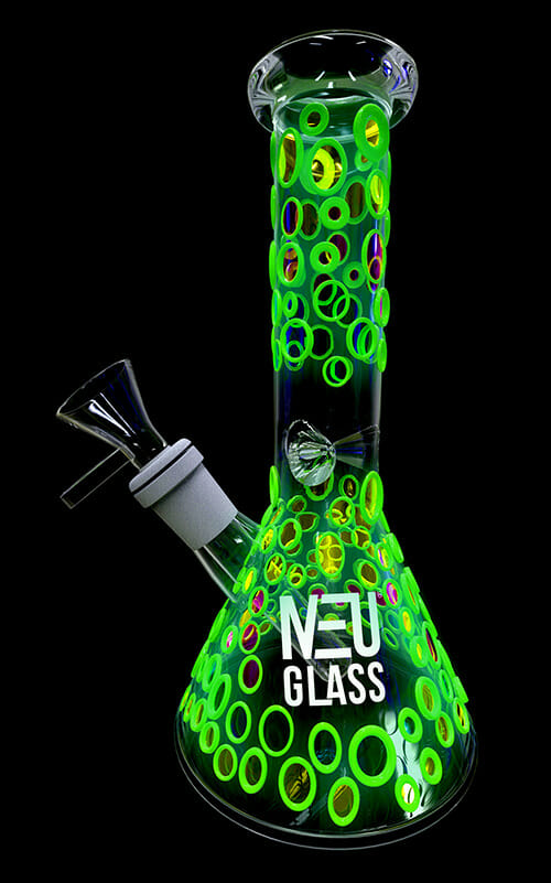 NEU Dry Herb Beaker UV & Glow in the Dark 8""
